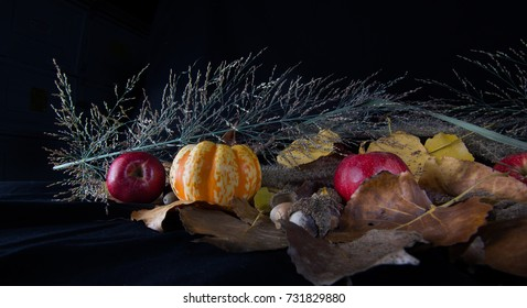 Fall gourds with apples, heather and leaves