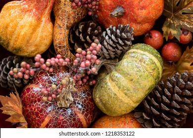 Fall harvest pumpkin pine cone decorations