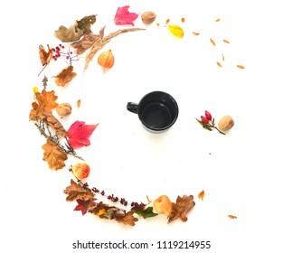 Fall Inspiration with Leaves and Coffee Mug
