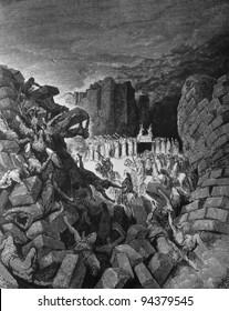 The fall of Jericho. 1) Le Sainte Bible: Traduction nouvelle selon la Vulgate par Mm. J.-J. Bourasse et P. Janvier. Tours: Alfred Mame et Fils. 2) 1866 3) France 4) Gustave Doré
