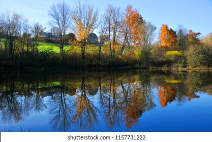 Fall landscape reflection eastern township Quebec Canada