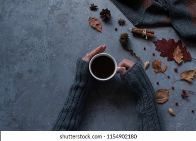 Fall leaves, cones, dry berry and woman's hands with cup of coffee and a warm scarf on gray table background. Seasonal, morning coffee, Sunday relaxing and still life concept. Top view. Toned image.