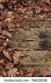 Fall leaves on weathered wooden planks-left half circle