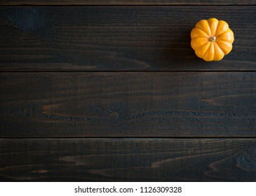 Fall Mini Pumpkin in Minimalist Still Life Card on Moody, Dark Shiplap Wood Boards with Extra Room or space for copy, text or your words.  Horizontal photo from above with trendy flat layout view