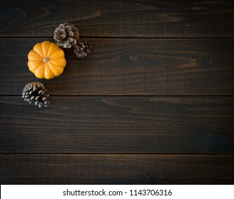 Fall Mini Pumpkin and Pine Cones in Minimalist Still Life Card on Moody, Dark Shiplap Wood Boards with Extra Room or space for copy or text. Horizontal photo from above with trendy flat layout view