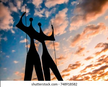 Fall of the night with the Statue of Candangos in Brasilia, Distrito Federal, Brazil, 2012