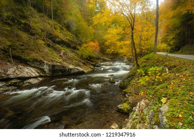 Fall on Little River Road in Smoky Mountains National Park Tennessee