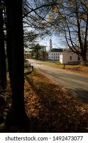 Fall on a Shady Lane near the Historic Marlboro Meeting House Congregational Church in Marlboro, Windham County, Vermont, USA
