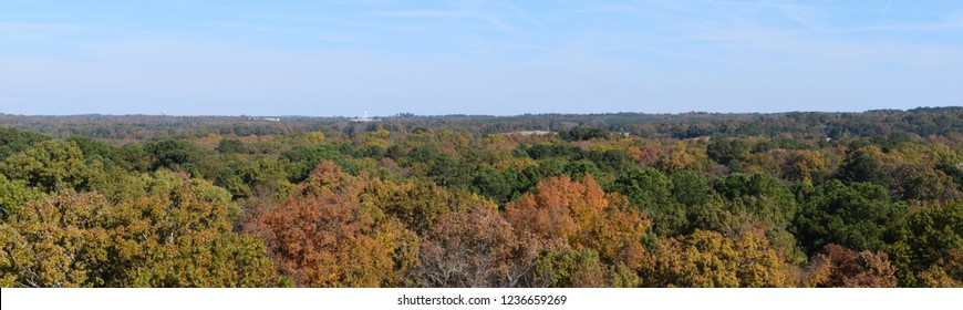 Fall panorama across Lafayette County and Oxford Mississippi from the University of Mississippi parking garage