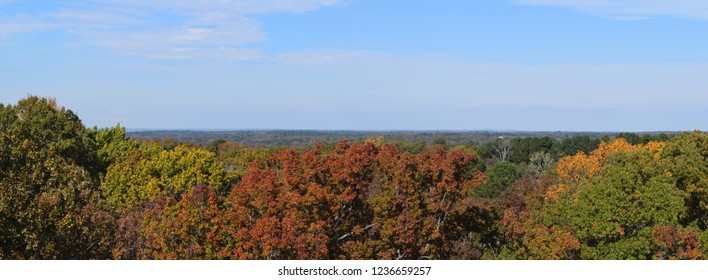 Fall panorama across Oxford Mississippi from the University of Mississippi parking garage
