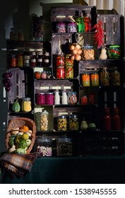 Fall Pantry with Jars With Pickled Vegetables