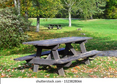 Fall park scenery with a wooden rustic picnic table and colorful leaves on the still green lawn.