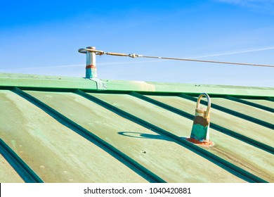 """Fall protection steel cable on copper roof - Italy where they are called """"Life Lines"""""""
