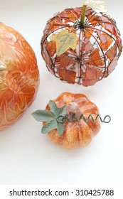fall pumpkin decorations on a white background isolated