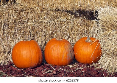 Fall pumpkins lined up in front of several bales of hay