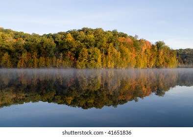 Fall reflections at Monksville Reservoir, Hewitt, New Jersey, USA