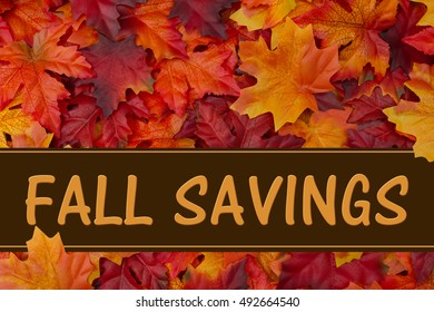 Fall Savings message, Some fall leaves with text Fall Savings