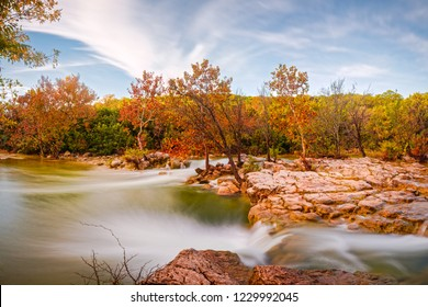 Fall Scene At Barton Creek Twin Falls - Austin Texas Hill Country