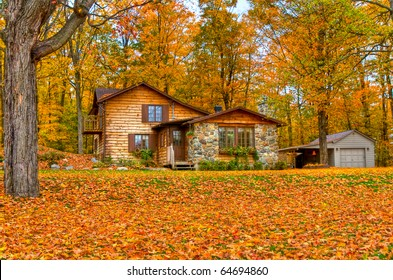 Fall season around a cabin