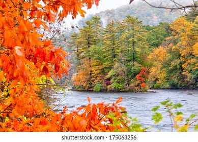 Fall season in the Housatonic River in the Litchfield Hills of Connecticut