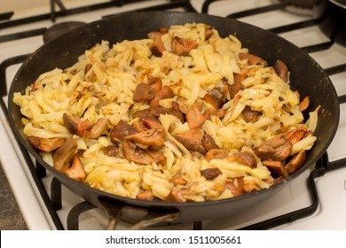 Fall season. Mushroom hunt. Saffron milk caps aka red pine mushrooms aka Lactarius deliciosus frying in a frying pan with brown onion and potatoes.