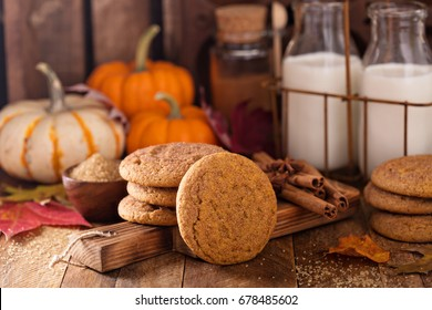 Fall snickerdoodle cookies with pumpkin and cinnamon