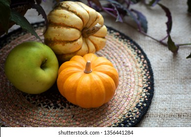 Fall Still Life with Mini Pumpkin, green apple and delicata sweet dumpling squash.  A horizontal with copy space and natural light with vignette for moody effect.