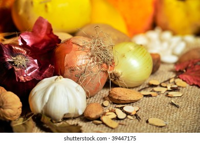 fall still-life with fruits and vegetables