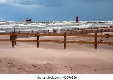 Fall storm on Lake Michigan