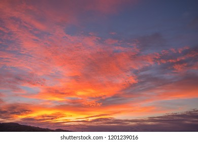 Fall Sunrise Above the Manoa Valley on the Hawaiian Island of Oahu.