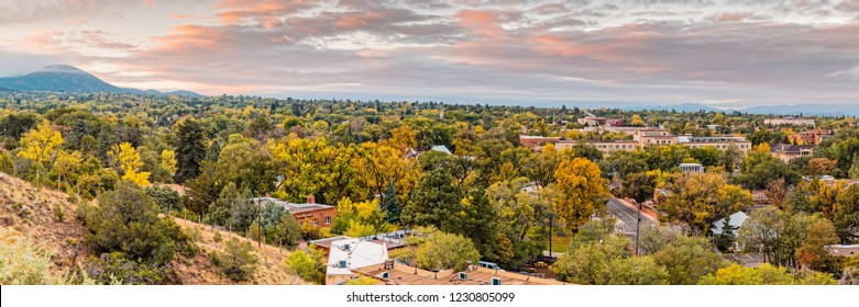 Fall Sunrise Panorama of Santa Fe the City Different - New Mexico Land of Enchantment