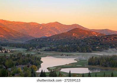 Fall sunrise in Park City, Utah, USA.