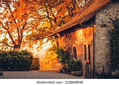 Fall sunset, magic golden light over old small cosy house