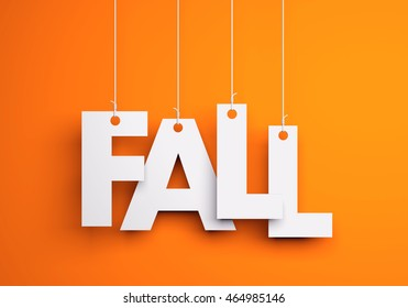 Fall- text hanging on the strings. 3d illustration