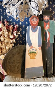 Fall themed design - puritan couple with country style background