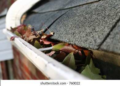 A fall tradition - cleaning the gutters of leaves. Here, we see them clogging the gutters of a traditional home. Could be used for advertising/clean up articles/etc.