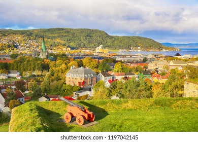 fall in Trondheim, the view of the Trondheim fjord, the cathedral Nidarosdomen , the mountain Geitfjella and historical center