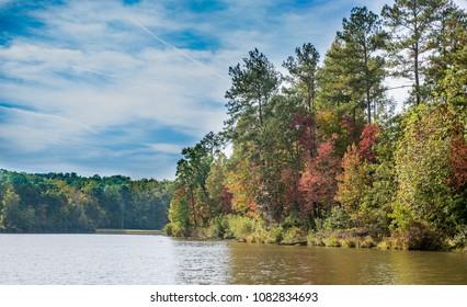 Fall view at Long Lake in Douglasville GA