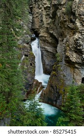Fall view of the lower falls at Johnston Canyon, Bow Valley Parkway Banff, Alberta, Canada.