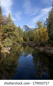 Fall view of Merced River, reflection of Half Dome from Sentinel Bridge, Yosemite Valley
