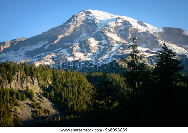 Fall View of the Summit at Mount Rainier National Park
