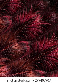 Fall winter 2015 - 2016 fashion color trend palette collection - deep burgundy red abstract fractal feather pattern illustration background