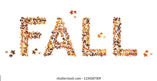 Fall word, text written in real leaf effect. seasonal, isolated on white.