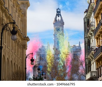 Fallas of Valencia, Spain. Mascleta on March 18 in the Town Hall Square in the city. Hundreds of firecrackers burn at parties
