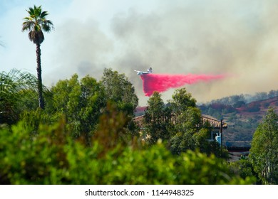 Fallbrook, California, USA – July 29 2018: CalFire battles wildfire near Fallbrook, California in San Diego County.