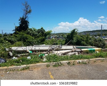 fallen and broken cement electrical poles in Isabela Puerto Rico after hurricanes Irma and Maria