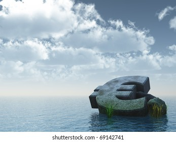 fallen euro monument at the ocean - 3d illustration