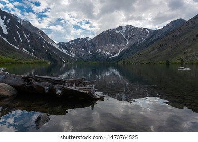 Fallen log in Convict Lake at Mammoth Lakes, California.