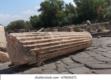 Fallen Pillar in Archaeological site of Beit She'an Israel Palestine
