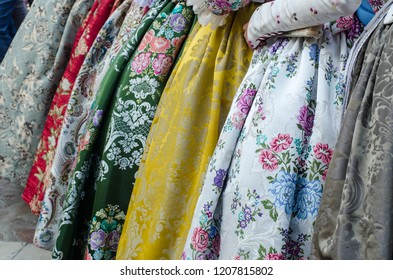 Falleras dress traditional with flowers, Spain, Valencia.